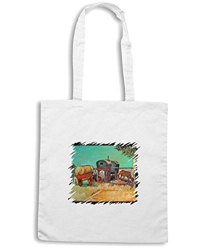 T-Shirtshock - Borsa Shopping TDA0138 van gogh209 campo di zingari con carrozzoni Bianco