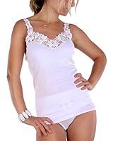 Damen Unterhemd mit großer Spitze in weiss 100 % gekämmte Baumwolle , Trockner geeignet
