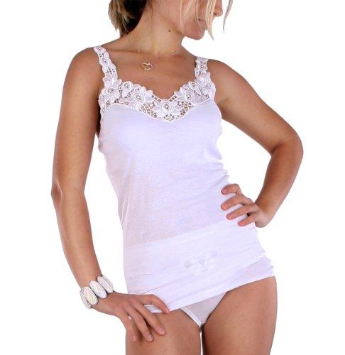 Damen Unterhemd mit großer Spitze in Weiss, 100 % gekämmte Baumwolle , Trockner geeignet, Größe 50