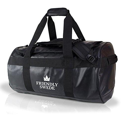 The Friendly Swede wasserfeste Reisetasche 60 Liter - Seesack, Duffle Bag (Schwarz 60L) (Rucksack Reisetasche)