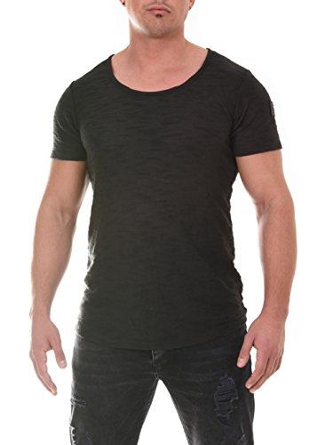 COEN BALE Herren T-Shirt Gym Shirt Kurzarm Regular Fit Rundhals Meliert Fitness Trainingsshirt Training Schwarz