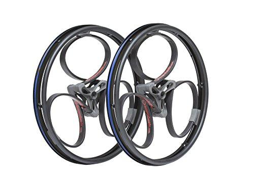 "Loopwheels 24"" Diameter 19mm Wide Offset Shock-Absorbing Wheelchair Wheels (x2), Black Loops/Red Logos (Eligible for VAT relief in the UK)"
