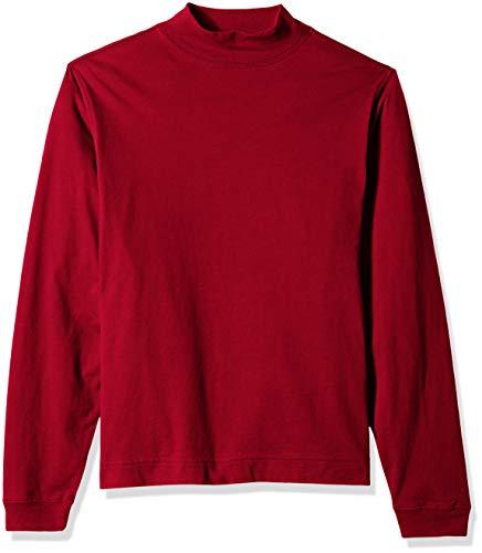 D & Jones Herren Sueded Cotton Jersey Mock Turtleneck Sweatshirt, Purpurrot, X-Klein - Red Mock Turtleneck Pullover