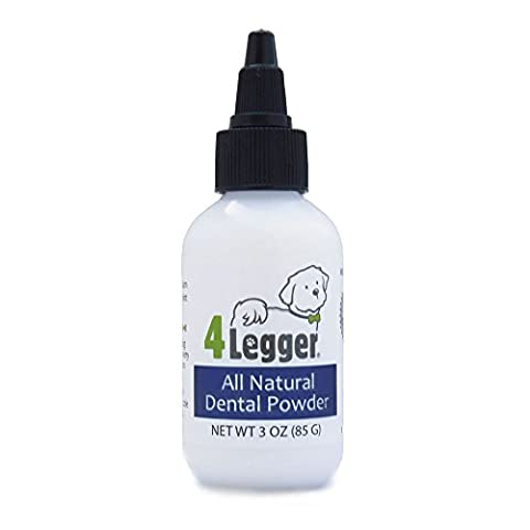 4-Legger All Natural Dental Powder - Mint Fresh with Peppermint Essential Oil - Holistic Oral Hygiene Care - Safer than Traditional Dog Toothpaste for Plaque and Tartar Control - USA - 85