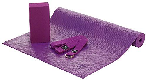 ASANA SET I, Yoga-Set aus Yogamatte, Yogaklotz und Yogagurt, violet/lila, Yogaset (nicht nur) für Anfänger