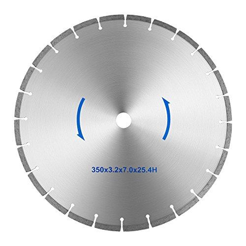MSW Diamanttrennscheibe MSW-TB-350/25 (350 mm, segmentierter Blattrand, Kernlochdurchmesser: 25,4 mm, für Stein, Keramik, Fliesen, Beton und mehr) -