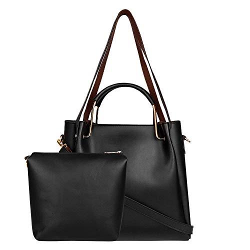 Don Cavalli Women\'s PU Leather Handbag with Sling Bag Combo (HB017, Black)
