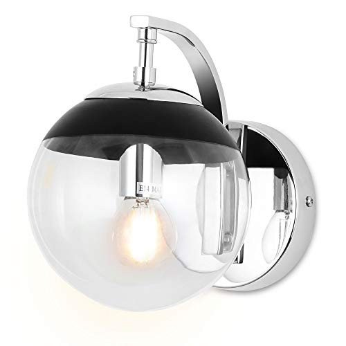 SPARKSOR LED Luci sfera di vetro Lampade da parete per la casa, Applique da parete Interno per camera da letto, soggiorno, corridoio [Classe di efficienza energetica A]