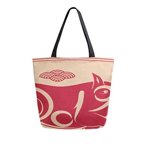 (Red Frohes Neues Jahr Schwein Tragbare Große Doppelseitige Lässige Canvas Tragetaschen Handtasche Schulter Wiederverwendbare Einkaufstaschen Duffel Geldbörse Frauen Männer Lebensmittelgeschäft)