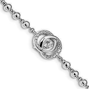 11mm Sterling Silber Platinierte Kristall Vibrant CZ mit 5,1cm EXT. Armband–15cm