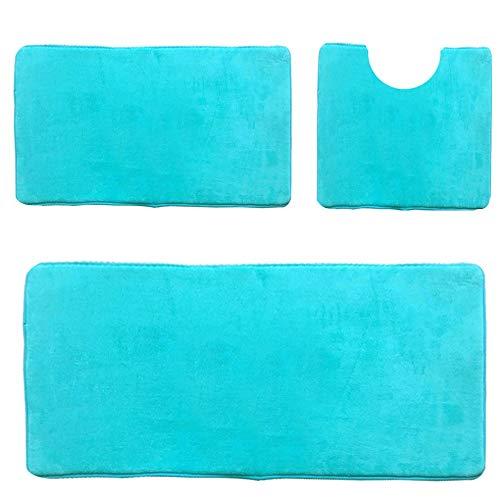 Madeals Badvorleger, Langer, Memory-Schaum, für Küche, Badvorleger, 53 x 137 cm 3 Piece Tiffany Blue