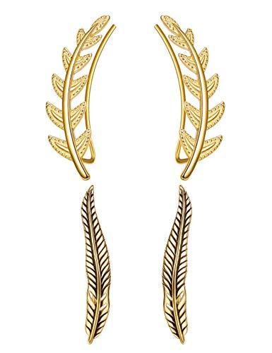 Sllaiss, 2 paia di orecchini da donna in argento Sterling 925, con foglie di oliva, stile antico, ipoallergenici e Argento, colore: B: Gold Tone, cod. RJEUA9068vG