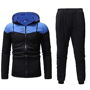☺HWTOP Sweatshirt Hoodie Top Hose Sets Herren Packwork Print Sportanzug Trainingsanzug Verdicken Top