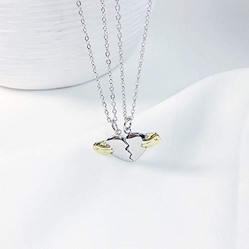 SSLL Halskette Trendiges 925Er Sterling Silber Süßes Goldherz Mit Handkette Liebeskette Für Frauenliebhaberschmuck