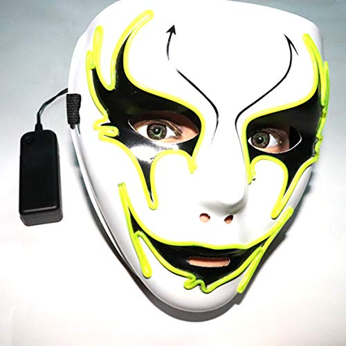 Funnyrunstore LED Maske Halloween Tod Grimasse Maskerade Maske Horror Leuchten Clown Halloween Cosplay LED Kostüm EL Draht Maske F Typ (grün)