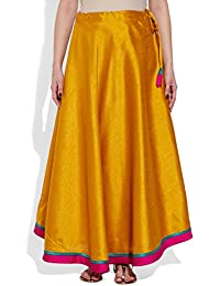 Very Me Women's Designer Yellow Faux Silk Solid Plain Skirt