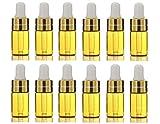 12 botellas vacías de cristal para aceites esenciales, con anillo dorado y cabeza de goma, para perfumes, incienso, cosméticos, etc.