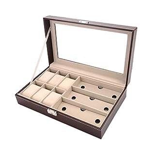 YZ-YUAN 6 Piece Uhrenbox und 3 Piece Eyegbrille Lagerung Leatherette Combo Schmuckbox und Sonnenbrillene-Display Case Organizer,Brown