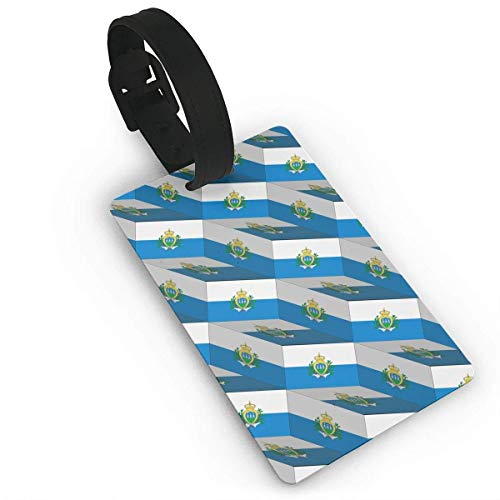 San Marino Golf (San Marino Flag 3D Art Pattern PVC Luggage Tags Suitcase Labels Bag Travel Accessories with Leather-Like Plastics Strap Size 2.2 X 3.7 inches)