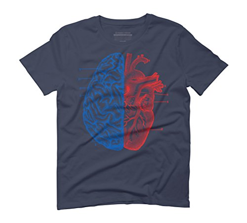 Heart and Brain Men's Graphic T-Shirt - Design By Humans Navy