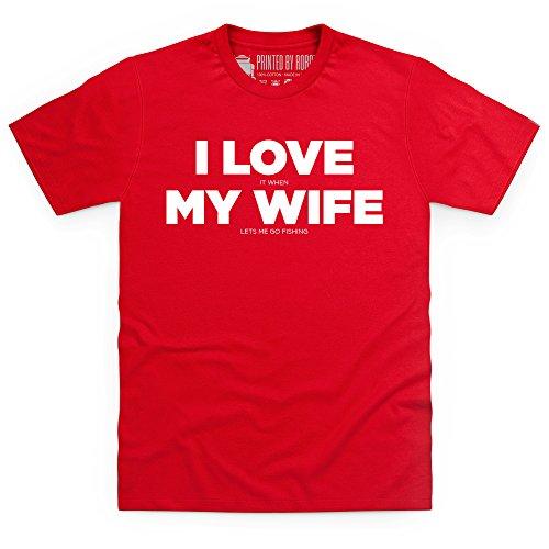 I Love Fishing T-Shirt, Herren Rot