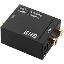 GHB Conversor de audio digital en analógico (entradas Toslink y coaxial, 2 salidas RCA) negro