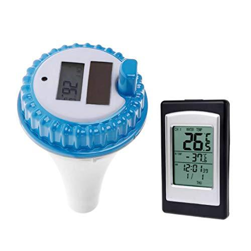 Vaycally Termómetro flotante digital inalámbrico para piscinas de energía solar, clima floreciente...