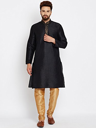 Royal Sojanya Men's Dupion Silk Kurta Churidaar With Self Brocade Design In Front Large Black And Gold (Brocade Kurta)