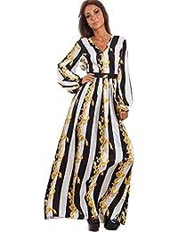 6f5eadf17305 Toocool - Vestito lungo donna abito fantasia barocca scollato righe  elegante sexy WD-2631