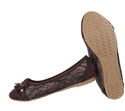 Damen Ballerinas Schuhe Lofers Espadrilles Pumps Dunkelbraun
