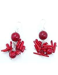 Boucles de Corail Rouge sur crochets en Argent massif 925