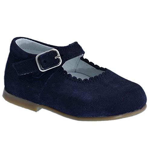 Guxs Zapato Merceditas Niña Piel Serraje Marino Color: