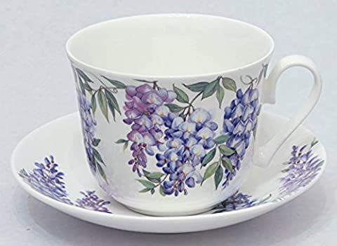 Roy Kirkham - Wysteria 2 breakfast cups and 2 saucers 45cl