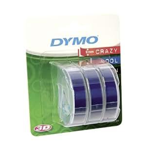 Dymo etichette a rilievo in vinile autoadesive, rotoli da 9 mm x 3 m, stampa bianca su blu (Confezione da 3), S0847740