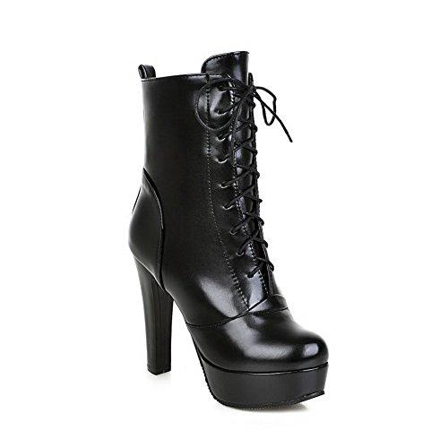 AllhqFashion Damen Schnüren Niedriger Absatz Niedrig-Spitze Stiefel mit Metallisch, Schwarz, 33