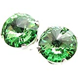 End of line clearance. 925 Sterling Silver stud earrings handmade with sparkling Peridot (light green) crystal from SWAROVSKI® for Women