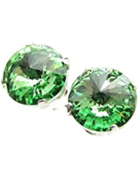 925 Sterling Silver stud earrings expertly made with sparkling Peridot (light green) crystal from SWAROVSKI® for Women