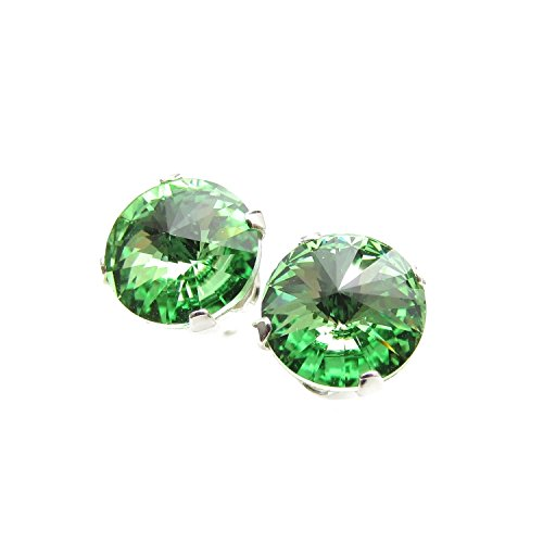 925 Sterling Silver stud earrings expertly made with sparkling Peridot (light green) crystal from SWAROVSKI for Women