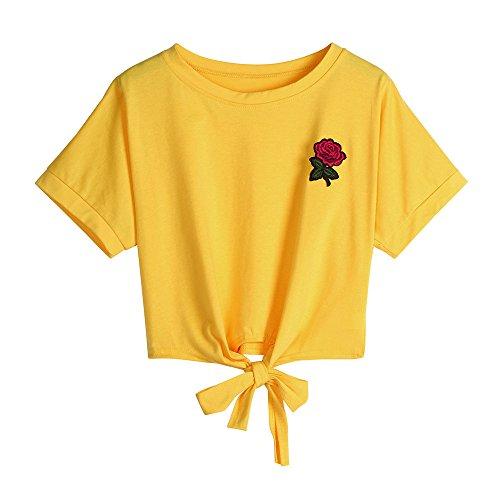 Oberteile Frauen Sommer, Ulanda Teenager Mädchen Mode Crop Top Sport V-Ausschnitt Shirt Bluse Damen Casual Rose Stickerei Kurzarm T-Shirts Hemd Tops Pullover Sale (C-Gelb, S)