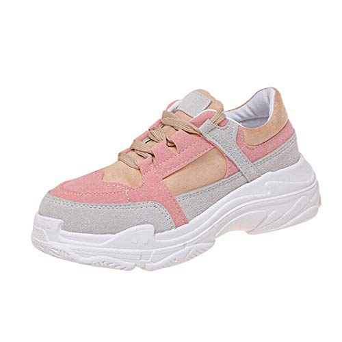 b7e7b866aa4 Hucode Trendy Wild Old Shoes Ladies Sneakers Platform(Rosa