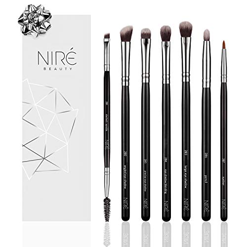Niré Eye Makeup Brush Set: Most popular Eye and Eyebrow Makeup Brushes: The Essential Eyeshadow Brushes, Blending brush, Pencil Brush, Eyeliner and Spoolie/Slanted Brush