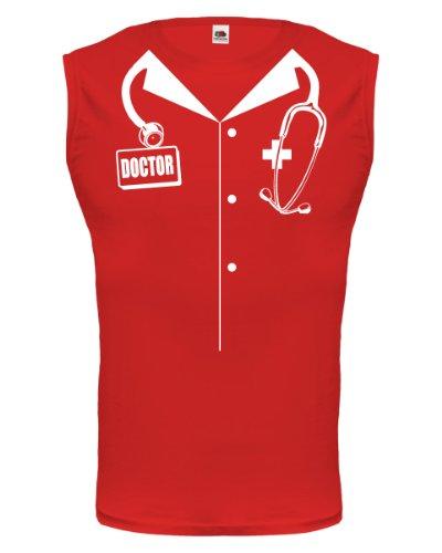 Tank Top Doctor Dress-XXL-Red-White (Arzt Kittel Adult Kostüm)