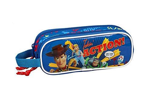 Toy Story 4 Estuche portatodo Doble 2 Cremalleras Escolar, Azul Marino, Unica