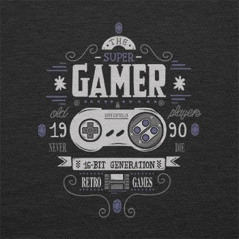 TEXLAB - The Super Gamer - Herren T-Shirt Schwarz