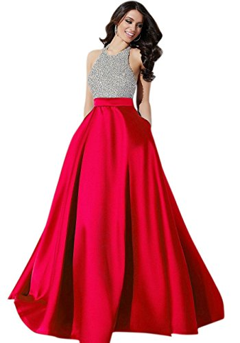 Muta Fashions Women's Satin Gown (GOWN00036_05__Red_Free Size)