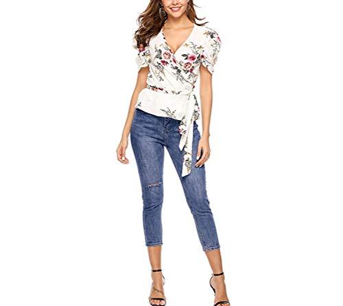 Emmala Sommer Chiffon Tshirts V-Ausschnitt Cardigan Bubble Damen Sleeve Bandage Stilvolle Unikat Kurzarm Blumendrucken Slim Fit Outdoor Mädchen Mode Tops (Color : Colour, Size : S) -