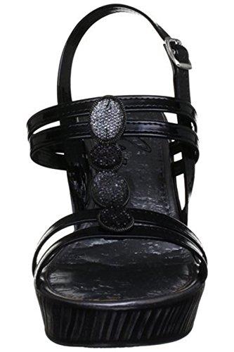 Fantasia Boutique jlc083 pour dames à bride arrière à lanières bordure strass texturé haut talon compensé Noir