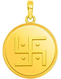 Candere by Kalyan Jewellers 24k (999) Yellow Gold Swastik gold coin pendant Pendant for Women