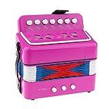 Kinder Musikinstrument - Mini Akkordeon mit 7 Tasten - Farbe zur Auswahl - Rosa