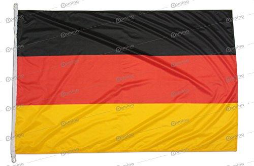 Deutschland Flagge 150x100 cm aus nautischem Windschutzgewebe von 115 g/m2, waschbare deutsche Fahne 150x100, professionelle flagge 150x100 mit Karabiner, Kappnaht und Verstärkungsband am Rand